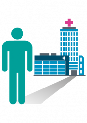 Image of person and hospital